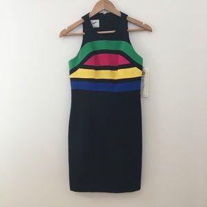 Linda Segal Black Fitted Modern Color Detail Dress